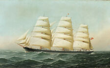 Classic Sail Boat Ship Painting Art Print Antique Seascape