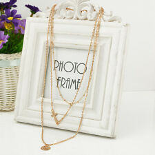 Short Personality Bib Golden Multilayer Necklace Alloy Gold Sequins Coin Cross