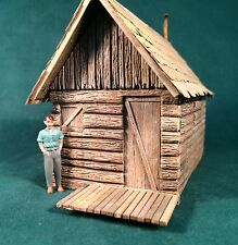 O/On3/On30 Scale-Backwoods Log Cabin-Rich White Models-Hydrocal Walls Only
