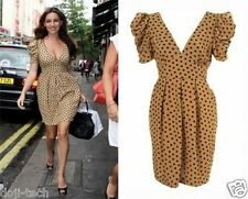 Topshop Camel Tan Polka-dot 50s Vtg Celebrity Tulip Shift Tea Dress 12 40 US8 M