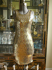 NWT BEBE ADDICTION GOLD AND SILVER SEQUIN DRESS S