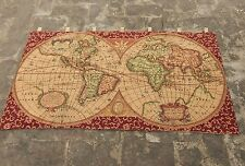 Vintage French Beautiful World Map Scene Tapestry 113X64cm (A858)
