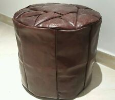 16 INCH HIGH HANDMADE MOROCCAN POUF GENUINE LEATHER  POUFFE  OTTOMAN FOOTSTOOL .