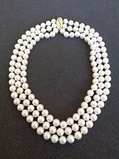 $20,000 3 Strand Cultured Akoya Pearl Necklace w/ 14K Gold & Diamond Clasp