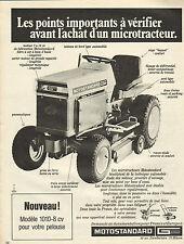 Publicité Advertising 1971  Microtracteur MOTOSTANDARD  Modèle 1010