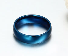 6mm Stainless Steel Band Girl/Boys  couple Smooth Ring Blue/Gold/Silver Sz 5-14