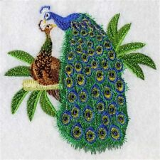 PEACOCK PAIR EMBROIDERED SET 2 BATHROOM HAND TOWEL BY LAURA