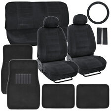 Vintage Auto Seat Covers Set Black Thick Fabric w/ Black Carpet Floor Mats