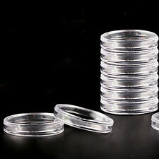 10pcs 19mm Clear Round Cases Coin Storage Capsules Holder Round Plastic CY