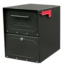 Architectural Mailboxes 6200B10 Oasis Jr. Locking Post Mount Mailbox, Black, New