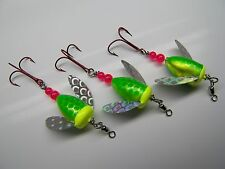 SPIN N GLO LURE LOT  3 SPINNER TROUT SALMON STEELHEAD ALASKA AUSTRALIA WORDEN'S