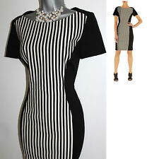 Karen Millen Black & White Stripe Punta Roma Colour block  Shift Dress UK 10