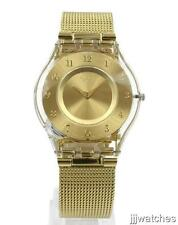 New Swatch Skin Classic GENEROSITY Gold Mesh Women Watch 34mm SFK355M $135