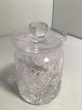 Small Glass Condiment / Honey Pot / Sugar / Mustard Jar  Etched Glass  Lid