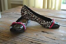 HUSH PUPPIES SOFT STYLE LEOPARD BLACK PINK PATENT LEATHER BALLET SHOES 10 NEW