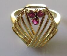 Secondhand 18ct Yellow Gold 3 Stone Round Ruby Fretwork Ring Size J.