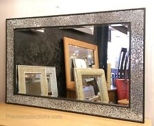 Crackle Design Parete Specchio a trama grossa cornice nera vetro mosaico 120x80cm nuovo fatto a mano