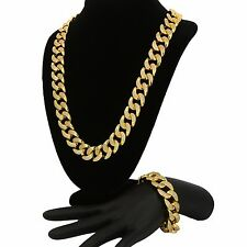 14k Gold Plated Iced Out Hip Hop 18mm Chain Heavy Miami Cuban Necklace Bracelet