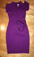 Cache Purple Knit Dress Stretch Belted Pencil Skirt Cap Ruffle Sleeve Size 6