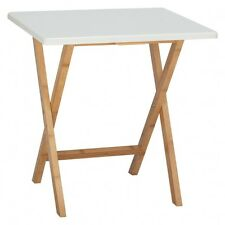 Drew 2 seat bamboo and white lacquer folding dining table 446511