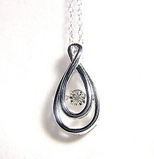 BEAUTIFUL STERLING SILVER SWIRL TEARDROP NECKLACE WITH FLOATING DIAMOND O.OO5 C