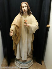 """Catholic Old Spanish Holy Statue of The Sacred Heart of Jesus 50"""" tall"""
