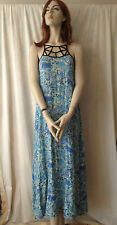 MORNING MIST Blue Print Maxi Dress Sz 8 BNWOT FREE Shipping $75.00 and Over