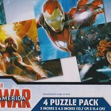 4 Mini Jigsaw Puzzle Brand New Civil War Captain America 12 piece 5x4.5 inch