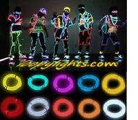 EL NEON GLOW WIRE LIGHT +BATTERY PACK * FESTIVAL * PARTY * FANCY DRESS LIGHT KIT