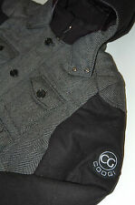 Mens Coogi Wool Blend Bomber Jacket Coat Hooded Full Zip / Button Black XXXL 3XL