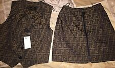 Authentic Fendi Jeans Skirt & Vest Set Zucca Fabric Brown Logo NWT