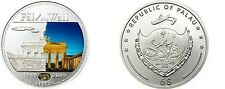 2009 Palau Large  Proof Color Silver $5 Berlin Wall