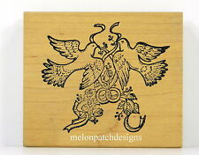TWO DOVES WEDDING RINGS RIBBON & ROSES Rubber Stamp NORTHWOODS