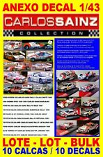 ANEXO DECAL 1/43 LOTE – BULK – LOT CARLOS SAINZ COLLECTION -10 DECALS   (02)