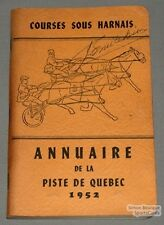 Original 1952 Quebec Horse Racing Guide