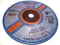 """STAINLESS STEEL 230mm 9"""" METAL CUTTING DISCS  ANGLE GRINDER SAW BLADES"""