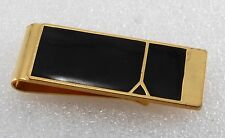 Vintage Collectible Gold Plated and Black Enamel 2 Square Money Clip NOS Damaged
