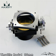 80mm Alloy Aluminum Universal CNC Billet Intake Throttle Body High Flow Black