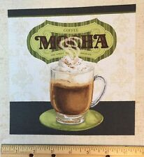 "COFFEE Moment Fabric Square 8"" Quilt Block Mocha Mug Wilmington Lisa Audit"