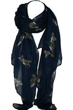 Navy Blue Fox Animal Print Large Maxi Scarf Shawl Wrap Stole Sarong Hijab