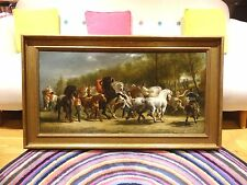 Fine Large 19th Century French Horse Fair Antique Oil Painting Rosa BONHEUR