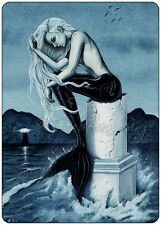 Mermaid Art ACEO PRINT Gothic Fantasy Stormy Sea Ocean lighthouse dark night