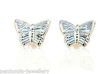 9ct oro bianco Orecchini Farfalla Borchie regalo in scatola made in UK
