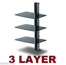 3 TIER SHELF DVD HD BOX TV WALL MOUNT LED LCD 3D LED LAYER STACK-ABLE SHELVES