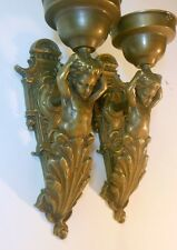 Stunning PR Antique Bronze Putti CHERUB Light Sconces Italian Renaissance French