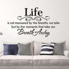 Life Breath Away Quote Words PVC Wall Decals Sticker DIY Living Room Decor Art