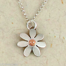 "Far Fetched Small Daisy Pendant NECKLACE Sterling Flower 16"" Chain - Free Ship"