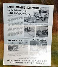 VTG 1950s Willys Jeep Rural Route Mailer Flier Earth Moving Equipment N