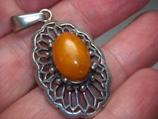 STERLING SILVER 925 VINTAGE ESTATE ORANGE YELLOW AMBER SCROLL CAVIAR PENDANT