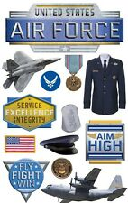 PAPER HOUSE 3-D STICKERS - UNIFORM PLANE MEDAL DOG TAGS- UNITED STATES AIR FORCE